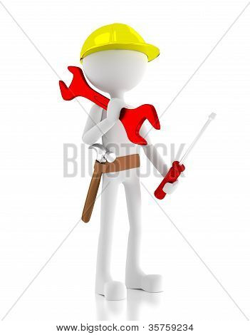 3D Construction Worker, Carries A Wrench, Screwdriver And A Hammer On His Belt
