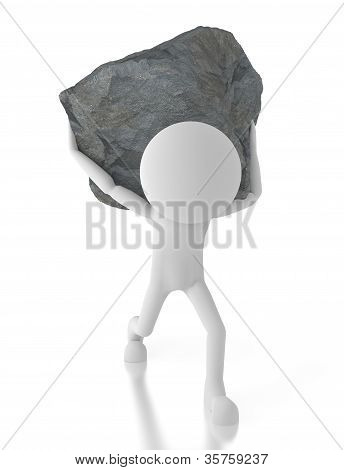 3D Person Carrying A Big Rock On His Back