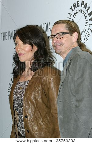 "BEVERLY HILLS - MARCH 7: Katey Sagal and Kurt Sutter arrive at the 2012 Paleyfest ""Sons of Anarchy"" panel on Wednesday, March 7, 2012 at the Saban Theater in Beverly Hills, CA."
