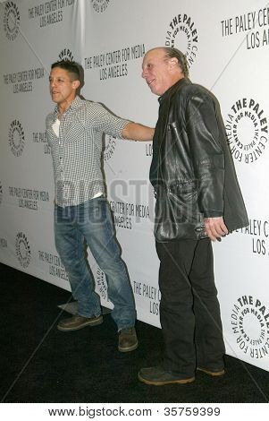 "BEVERLY HILLS - MARCH 7: Theo Rossi and Dayton Callie arrive at the 2012 Paleyfest ""Sons of Anarchy"" panel on Wednesday, March 7, 2012 at the Saban Theater in Beverly Hills, CA."