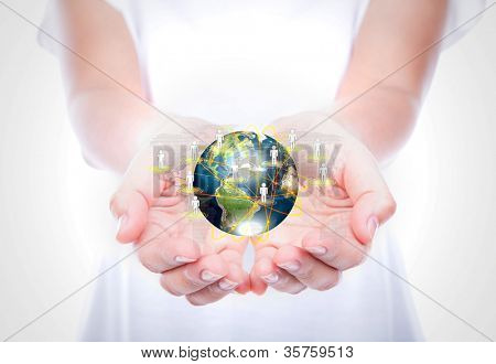 Women hand hold earth of social network  (Elements of this image furnished by NASA)