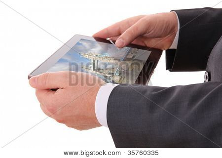 businessman hands with tablet on white background