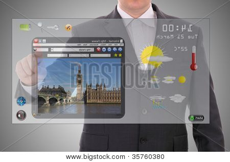 Digital world concept graphic, presentation made by businessman on touch user interface