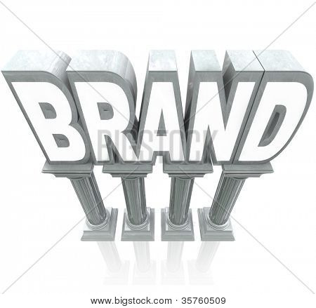 The word Brand standing high on marble columns, elevated as the top product or company compared to others in a marketplace, with great reputation, awareness, identity and loyalty