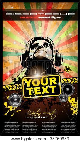 Club party flyer for music event and promotional posters. Retro vintage style with a lot of grunge elements.
