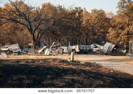 CREEK COUNTY, OKLAHOMA - AUGUST 6 2012: a home burned down in wildfires that destroyed approximately 60 000 acres and dozens of homes on August 6, 2012 in Creek County, Oklahoma, USA