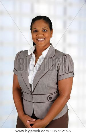 Businesswoman working at her office by herself