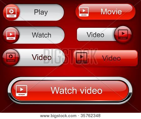 Video web buttons for website or app. Vector eps10.