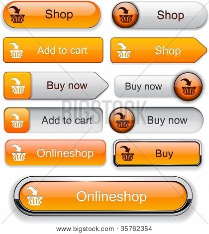 Buy web orange buttons for website or app. Vector eps10.