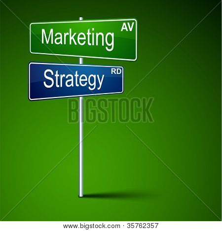 Vector direction road sign with marketing strategy words.