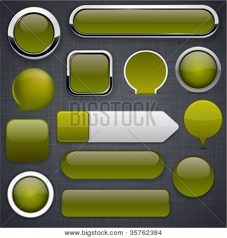 Blank mossy web buttons for website or app. Vector eps10.