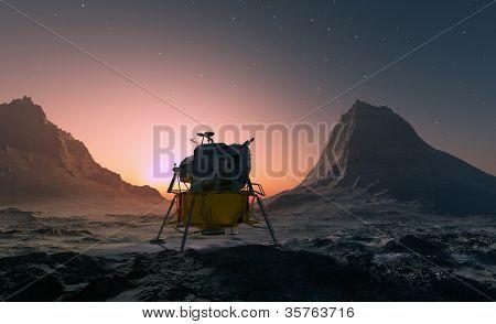 Nave espacial sobre o terreno montanhoso do planeta.