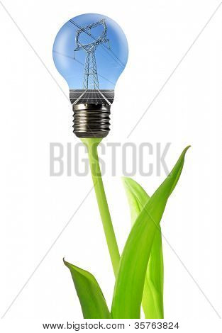 power line with solar panel in the bulb