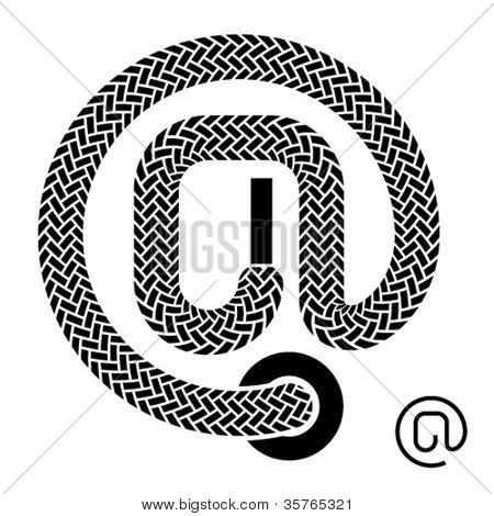 vector shoe lace email symbol