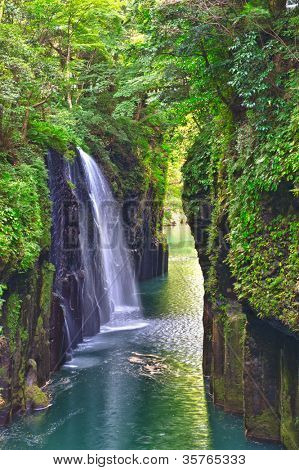 Beautiful gorge Takachiho with a blue river and waterfall, Japan - Kyushu island