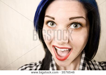 Wide Angle Portrait Of A Cute Rockabilly Girl