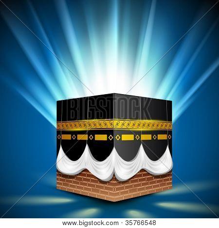 Beautiful View of Qaba or Kaaba Sharif on shiny rays background. EPS 10.