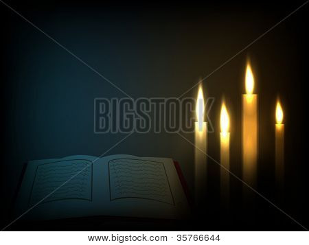 Open holy book Quran Sharif or Kuran Sharif in candles light. EPS 10.