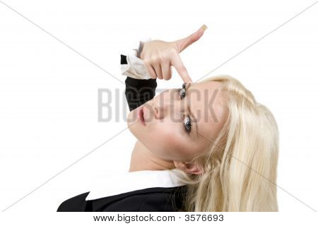Pretty Woman Showing Shooting Hand Gesture