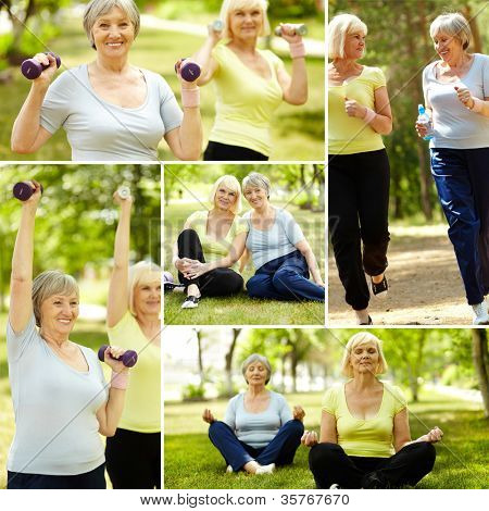 Collage of elderly women doing exercises outdoors