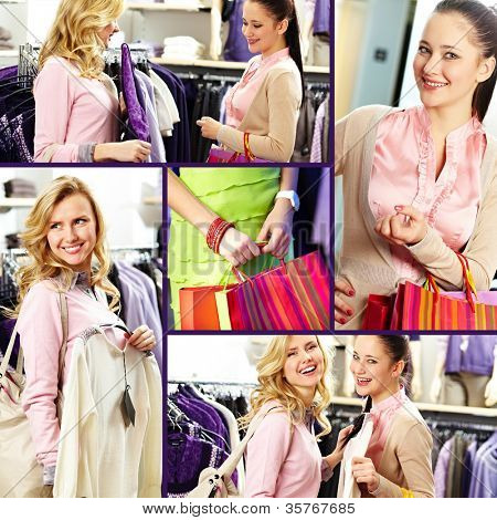 Collage of pretty girls in department store