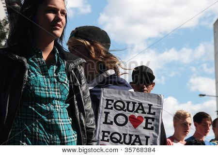 Brisbane, Qld Australia - August 11 : Unidentified Woman With Equal Love Sign On August 11 2012  In