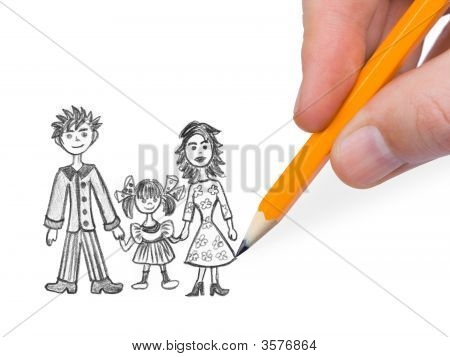 Hand Drawing Happy Family