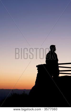 Man Enjoying Amazing View At Sunset