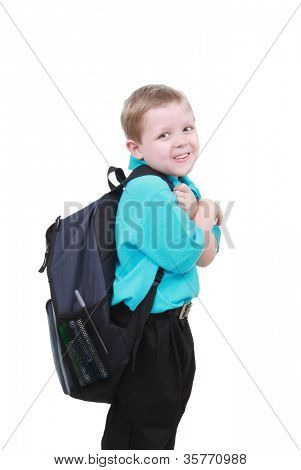 Boy with a large backpack