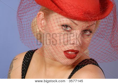 Gorgeous Blond Girl In Fifties Pinup Hat