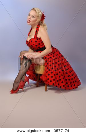 Gorgeous Blonde Fifties Style Pinup