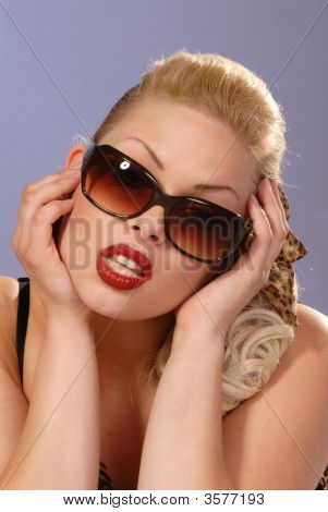 Fifties Style Beautiful Girl In Sunglasses