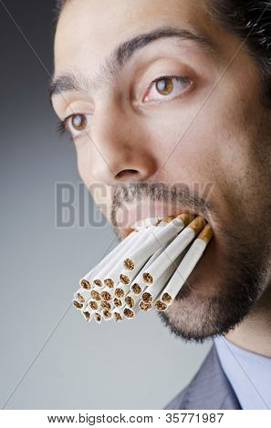 Anti smoking concept with man