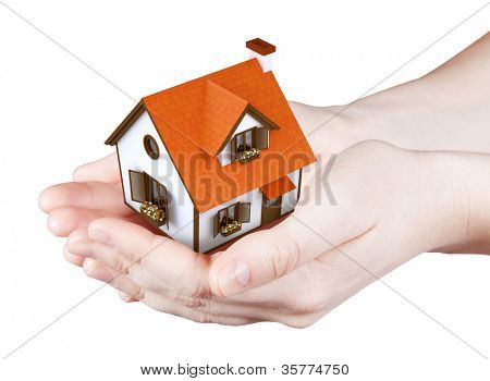 Hands holding offer house. Concept growing business, real estate, ecology, freshness, freedom and lifestyle issues. Handful collection.