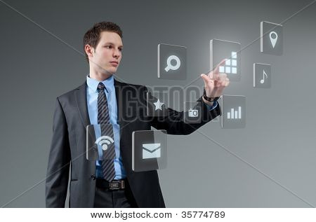 Businesman pushing button. Young man touching interface. Pressing technology. Future push interface collection.