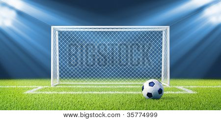 Football (soccer) goals and ball on clean empty green field. Concept for team, championship, league, competition poster / website design. One from collection.