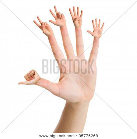 Hand counting one to five