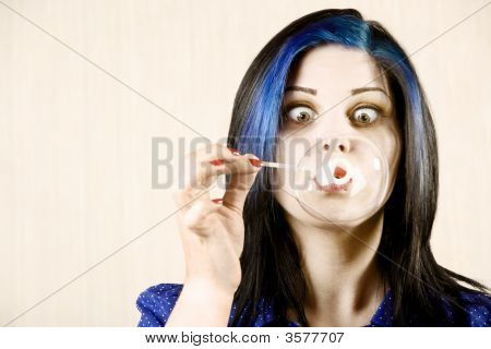 Pretty Woman Blowing A Bubble