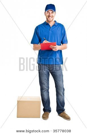 Full length portrait of an handsome deliverer
