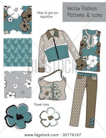 Fashion Seamless Vector Patterns and Icons.  Use to create your own clothing elements or digital paper or fabric projects.