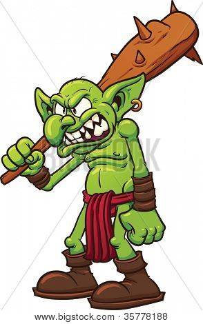 Angry cartoon troll. Vector illustration with simple gradients. All in a single layer.