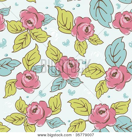 Seamless pattern on leaves theme. Classic wallpaper with of red roses on design background, vector illustration