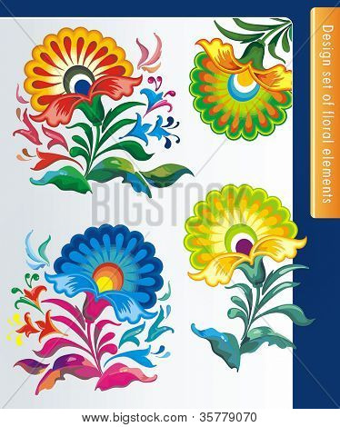 Different Vintage beautiful floral design element. Isolated flowers on the white background. Big collection of color design elements.