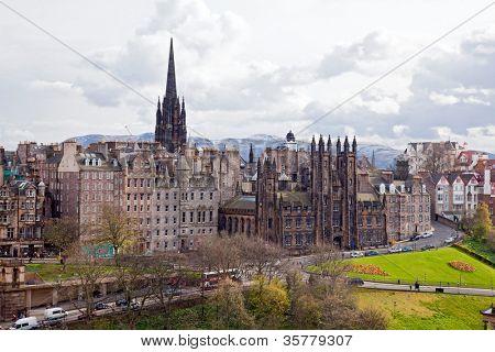 Edinburgh Cityscape with Scott Monument Scotland UK