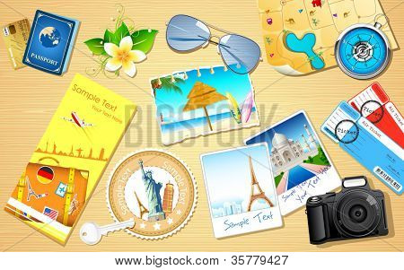 illustration of travel photograph and camera