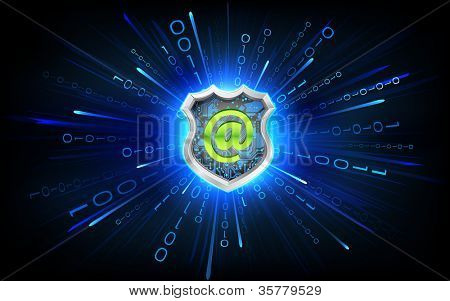 illustration of antivirus shield on virtual binary background