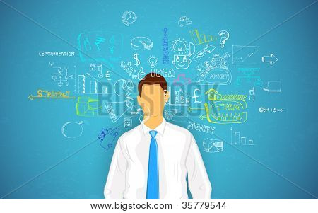 illustration of man thinking of business concept