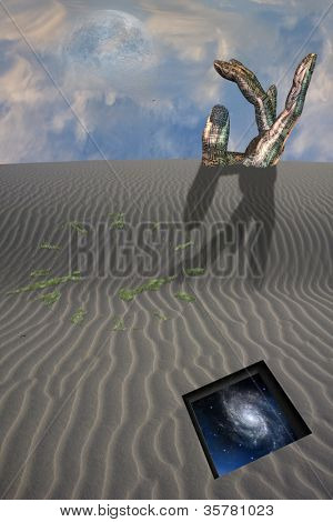 Buried sculpture of hand in desert with clock