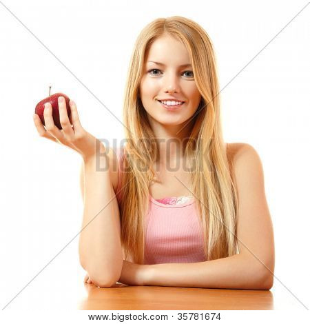 happy teeny girl with red apple, isolated on white background