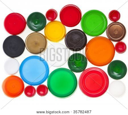 Colorful plastic bottle cups  isolated on white background